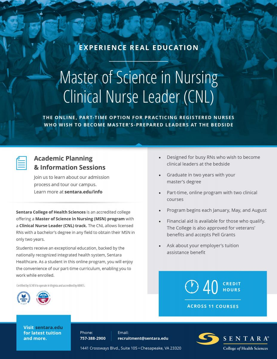 Clinical nurse leader msn sentara college of health sciences get the flyer malvernweather Image collections
