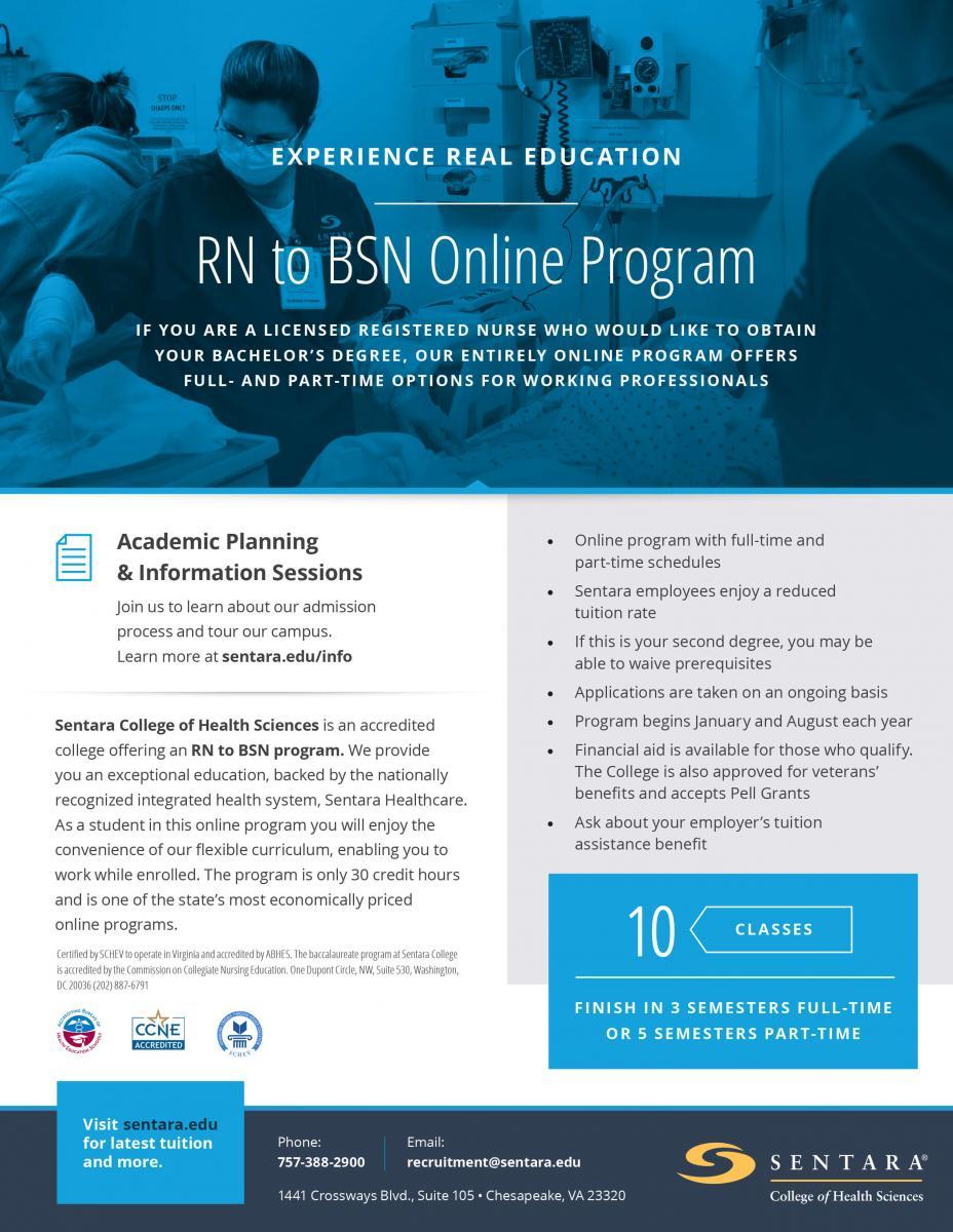 RN to BSN Online Degree Program | Sentara College of Health Sciences